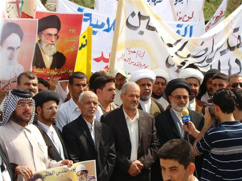Allawi's new allies? Image published by the Badr organisation from last week's Quds Day celebrations in Basra, featuring posters of Iran's Khomeini and Khamenei