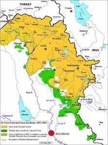 Areas of Kurdish expansion beyond the Kurdistan federal region